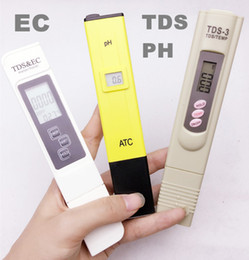 Wholesale 3 TDS EC ppm Tester PH ATC TDS calibrate by hold TEMP botton meter digital Pen monitor water quality for