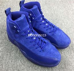 Wholesale 2016 Retro XII Air Retro12 Premium Deep Royal Blue Suede Men Basketball Sneaker Shoes Top Quality Real Carbon Fiber