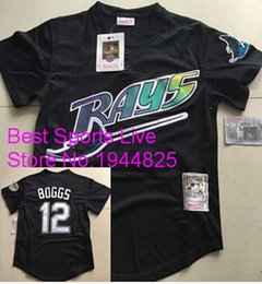Wholesale Men s Tampa Bay Rays Throwback VINTAGE Baseball jersey Wade Boggs Pullover Mesh BP Black Jersey size extra small XS s xl