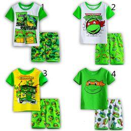 Wholesale Boys Teenage Mutant Ninja Turtles Pajamas suits Design children TMNT cartoon Short sleeve T shirts shorts suit baby clothes B001