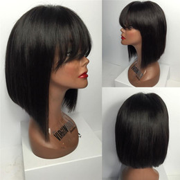 glueless full lace short bob wig full lace human hair wigs with bangs silk top lace wig