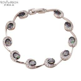 Wholesale So shining Mystic Topaz Charm bracelets for women New Brand design Australia Zirconia Silver filled Luxury Fashion jewelry TB746