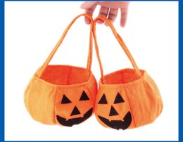 Wholesale Halloween pumpkin bag hand held halloween props baskets non woven candy bags three dimensional pumpkin bag