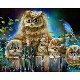 New Arrival DIY Diamond Embroidery Painting Full Rhinestone Stick Mosaic Painting Needlework owl family 50x40cm HWB-523