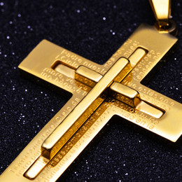 Cross Necklace Women Men Stainless Steel Jewelry Wholesale Trendy 18K Real Gold Plated Crucifix Jesus Piece Cross Pendant NE001