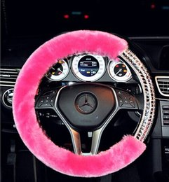 Wholesale 2016 New Arrival Woman Dedicated Car Steering Wheel Cover Artificial plush Diamonds Purple Pink White Fashion High grade Automotive supplies
