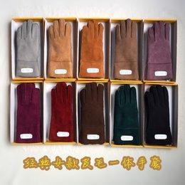 Wholesale Leather gloves women Sheepskin Lady Warm Winter Gloves Women Mitten Gloves Girls Gloves Winter Warm Mittens Gloves
