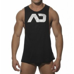 Wholesale Loose Cotton Tanks - 2016 Addicted Men's Sport Singlets Gym Tank Top Muscle Vest Loose Sleeveless Shirt Bodybuilding Stringer Fitness Tops M-XXL