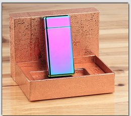 New Gift Cigarette lighter Electric Arc Windproof Rechargeable Flameless No Gas Metal Pulse USB Lighters with box