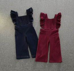 Wholesale 2016 Autumn New Girl Overalls Pants Flare Sleeve Ruffle Cotton One Piece Trousers Children Clothing T K9473