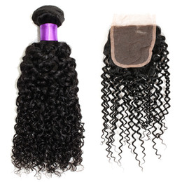 Wholesale Cheap 5pcs Curly Hair - Best Kinky Curly Hair 7A Unprocessed Human Hair Bundle With Lace Closure(4*4) Natural Color Dyeable Cheap Hair Weaves Closure 5Pcs Lot