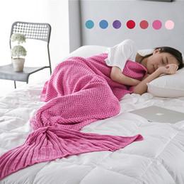 Wholesale 7 Color Mermaid Tail Blanket Adult Children Baby Little Mermaid Blanket Knit Cashmere Like TV Sofa Blanket