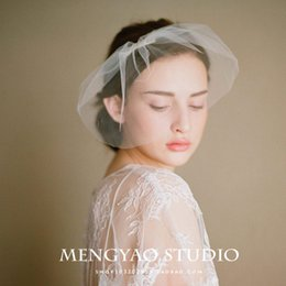 Wholesale Handmade bridal veil wedding accessories exports Europe and the United States Snow yarn flexible pipe short veil head ornaments