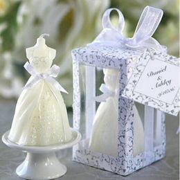Wholesale New White Bridal Wedding Dress Shape Candle Bougie Wedding Party Decor Candle