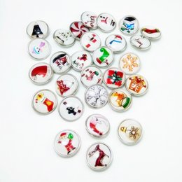 Wholesale 18mm newest fashion mix color Christmas love gloves gifts Charms Resin Ginger Snap Button Jewelry Fit Armband Bracelets
