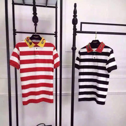 2016 summer men's women's short-sleeved Polo snake embroidery black white stripe polo tshirts