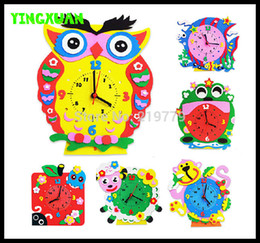 Wholesale 10pcs Funny handmade DIY D Cartoon Animal learning Clock Puzzle Kids Arts Crafts Kits Birthday Educational Gift Toys