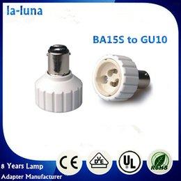 2016 venta caliente llevó BA15S soporte de la lámpara a GU10 adaptador de soporte de la bombilla de luz LED CFL PBT ignífugo adaptador de RoHS del CE GU10 ~ BA15S desde incendios cfl proveedores