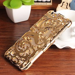 Wholesale Fashion Artistic Carving Hollow Out Plating Phone Case Plastic Back Cover For iPhone S S Plus