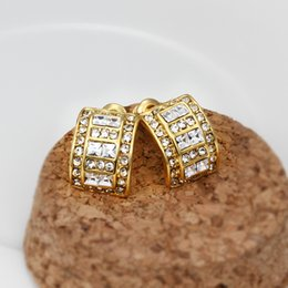 Wholesale sale pairs k k yellow gold gemstone Square bending earrings DFMGE536 brand new women s yellow gold crystal Stud