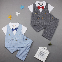 2017 Summer Children Suit Boys Plaid Gentleman bow Fake two pieces Short sleeve Tops Tees+Plaid Shorts 2 Piece Sets Baby Kids Clothing