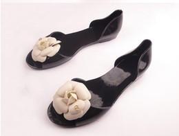 Summer bohemia camellia sandals flat heel open toe shoe female sandals jelly shoes