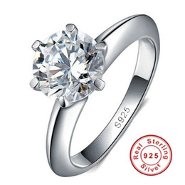 Vecalon Real 925 Sterling Silver Rings Set 1.5 Carat CZ Diamond Silver Wedding Rings for Women Silver Fine Jewelry