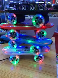 2016 New Arrival Skateboard Bluetooth Wireless scooter Speaker Mobile Audio Mini Portable Speakers with Led Light Christmas gift