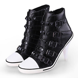 Wholesale Ash Women s Studded Ankle Boots Buckle Sneakers Rivets Stiletto Heels Shoes High top Fashion Trainers On Hot Sale Leather Casual Sport Shoes