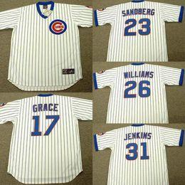 Wholesale Men white MARK GRACE RYNE SANDBERG BILLY WILLIAMS FERGUSON JENKINS Chicago Cubs throwback Baseball Jersey stitched