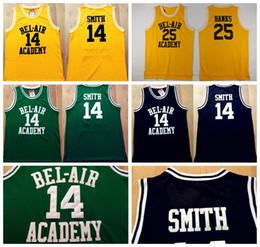 Wholesale 14 WILL SMITH Jerseys The Fresh Prince Carlton Banks Jersey OF BEL AIR Basketball BEL AIR Academy Yellow Shirt Black Green TV Sitcom