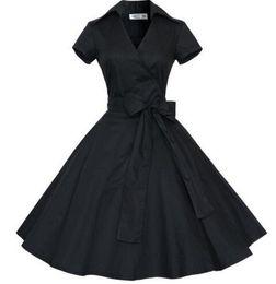 Wholesale Summer Women Dress Vintage Elegant Bow knot V neck Big Hem Party Woman Ball Gown Dresses Feminino Vestidos With Belt