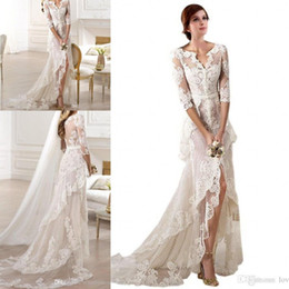 2018 Sexy Lace Designer V neck Half Sleeves High Low Applique Custom Made Wedding Dress Bridal Dresses Front Split Tiered Sheer Cheap Dress