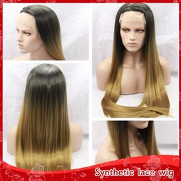 New Sexy Free Part Ombre Blonde 30# Silky Straight Long Hair Glueless Brazilian Synthetic Lace Front Wigs for Black Women Heat Resistant