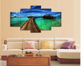 3 Piece Scenery Home Decorative Seascape Paintings Maldives Water Bridge Printed Oil Painting Canvas home decor Wall art