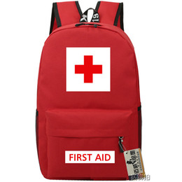 Wholesale First aid backpack Red cross school bag Special daypack Emergency service schoolbag Outdoor rucksack Sport day pack