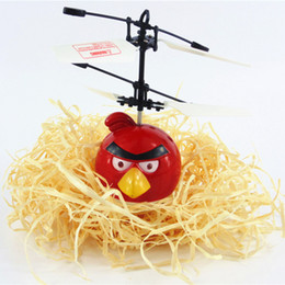 Wholesale Angrey Birds Aircraft Flying Ball Avengers RC Helicopter Aircraft Kids Toy Induction Motor Childrens Day Gift Red fat mix colour