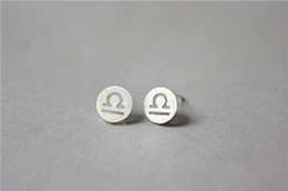 30Pair- S001 Libra Stud Earrings Signs 12 Zodiac Constellation Earrings Horoscope Astrology Round Disc Stud Earrings for Birthday Gifts