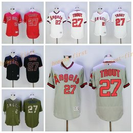 Wholesale Los Angeles Angels Mike Trout Jersey Flexbase LA Angels Mike Trout Baseball Jerseys Coll Base of Anaheim White Pullover Red Grey