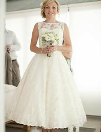 1950s Vintage Ankle Length Wedding Dresses Jewel Neck Sleeveless Ribbon Sash Full Lace A Line Short Bridal Gowns Custom Made