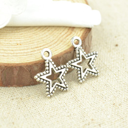 wholesale 150pcs Vintage silver plated star charms metal pendants for bracelets & necklace diy jewelry findings 17*15mm 2358