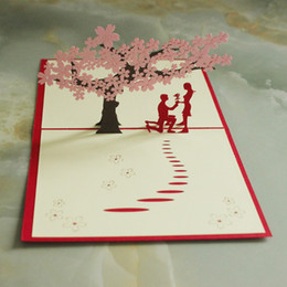 China sales of new 3D three-dimensional greeting card love gift to witness the miracle of the cherry blossom lovers pure handmade