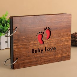 Wholesale 2016 Hot wood Cover Albums Handmade Loose leaf Pasted Photo Album Personalized baby lovers photo album scrapbooking