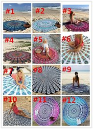 150CM Round Beach Towel Bohemian Style Thin Chiffon Polyester Fabric 150cm Beach Towels Round Printed Serviette Covers Yoga Mat 500pcs