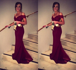 Sexy Burgundy 2019 Prom Dresses Off-Shoulder Mermaid Lace Sweep Train Special Occasion Formal Evening Party Gown Dress