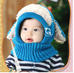 Wholesale Baby Winter Beanies Kids Children Warm Hat With Hooded Conjoined Scarf Earflap Shawl Knit Wool Warmers Beanie Caps Hot Sales Gift