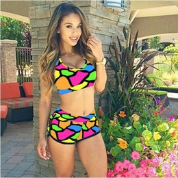 Wholesale 2016 European and American Sexy Two piece Bikini Swimsuit Female Positioning Printed Swimsuit