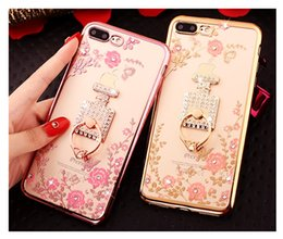 Wholesale Electroplating Rhinestone TPU Phone Case for iPhone 8 8 Plus Case Diamond Secret Flower Garden with Ring Stand