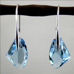 Wholesale Aqua Blue Crystal Drop Silver Genuine Earrings made with Swaro Elements Gifts