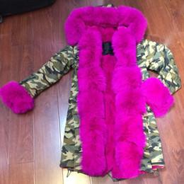 Promotion hoodie de la fourrure pour les femmes Hot Pink Fashion Femmes personnalisées poignets de fourrure Fox, Hoodies, MrMrs Luxury Parkou Camouflag pour vêtements d'hiver